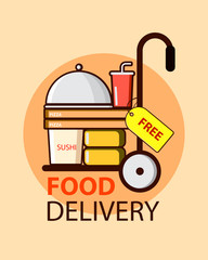 Free food delivery service in flat style with food boxes, pizza and sushi. Vector illustration design.