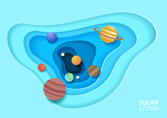 Solar system in paper art style. Galaxy paper cut. Vector illustration design.