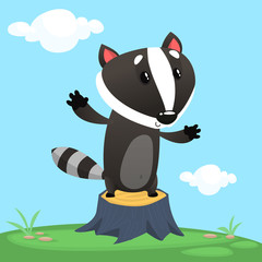 Cute cartoon badger illustrated. Vector animal icon