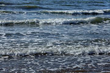 Sea blue water wave ocean surf storm winter spring quiet relax move freshness white foam horizon