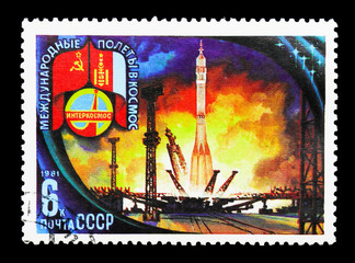 Lift-Off, Baikonur Base, Soviet-Mongolian Space Flight serie, circa 1981