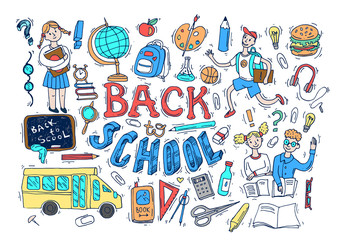 Beautiful hand drawn set of vector illustration back to school.