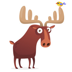 Funny cartoon moose character. Vector moose illustration isolated.