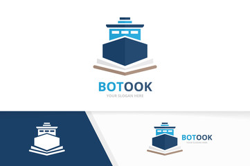 Vector ship and open book logo combination. Boat and bookstore symbol or icon. Unique yacht and library logotype design template.
