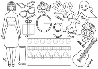 Letter G. English alphabet. Writing practice. Educational game for children. Coloring book.