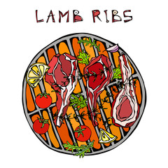 Lamb Ribs Chops with Herbs, Lemon, Tomato, Parsley, Thyme, Pepper. On a Round Grill BBQ. Meat Guide for Butcher Shop or Steak House Restaurant Menu. Hand Drawn Illustration. Doodle Style.