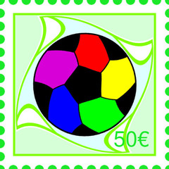 Postage stamp drawing with football theme