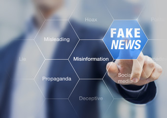 Fake News concept with a person showing misleading, deceptive stories, propaganda, lies, fabricated facts to control or manipulate opinion on internet and social media, political elections