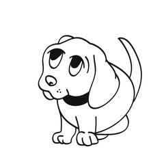 Puppy from a cartoon, the contour of the dog on a white background