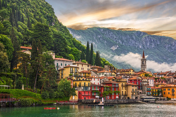 Como lake, Varenna town sunsrt view, Italy, Lombardy