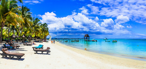 Fototapete - Holidays in tropical paradise - beautiful beaches of Mauritius island