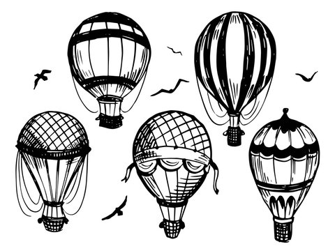 Set of air balloon. Hand drawn illustration. Vector isolated