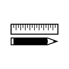 Ruler and pencil icon vector icon. Simple element illustration. Ruler and pencil symbol design. Can be used for web and mobile.