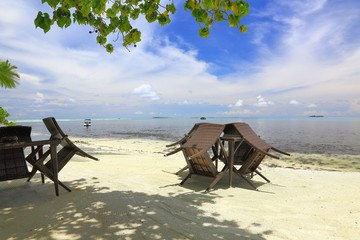 Empty outdoor cafe on coastline of an island in Indian Ocean, Maldives. Beautiful nature backgrounds.