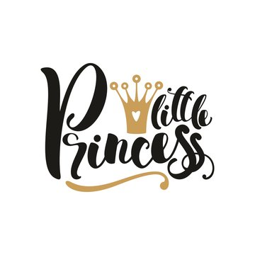 Little Princess. Hand drawn lettering phrase isolated on white background. Vector illustration.
