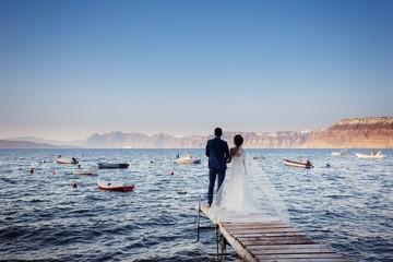 Bride and Groom on Santorini