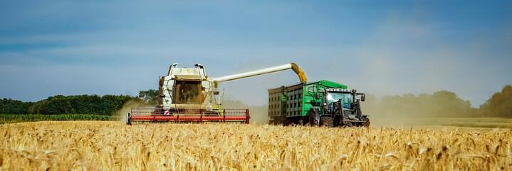 Getreideernte - Mähdrescher und Landtechnik für den Getreideabtransport, Banner