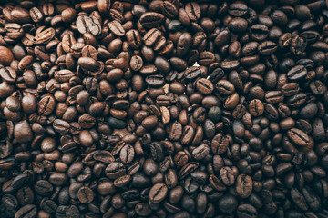 roasted coffee beans, can be used as a background style Vintage