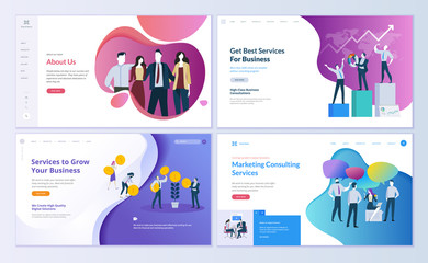 Wall Mural - Set of web page design templates for business, finance and marketing. Modern vector illustration concepts for website and mobile website development. Easy to edit and customize.