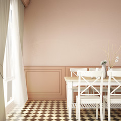 interior design for dining area with empty wall background / 3d illustration,3d rendering