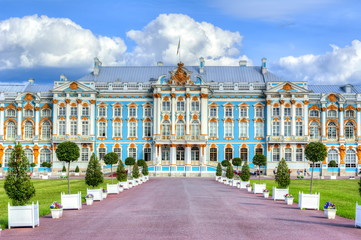 Catherine palace in Tsarskoe Selo in summer, St. Petersburg, Russia