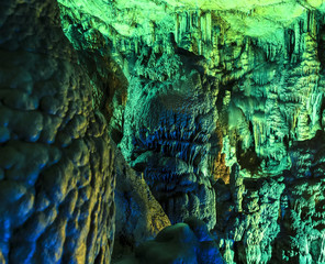 under ground. beautiful view of stalactites and stalagmites in underground cavern