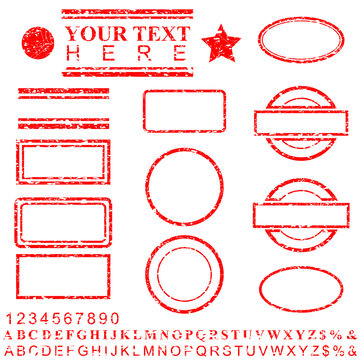 template alphabet, number, percent, dollar, dot, star, rectangle, lines oval circle rubber stamp effect for your element design