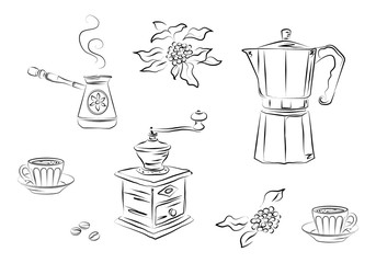 Black graphic drawing coffee symbols – mill, coffee machine - geyser, pot, beans, leaves, cups. Vector illustration, isolated on background, for design.