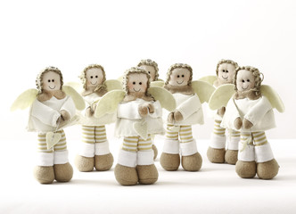 Seven christmas decoration angels made in filt and fabric