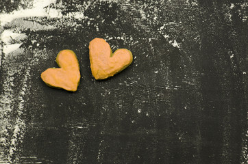 Heart on white flour. Cooking with love. Home cooking concept.