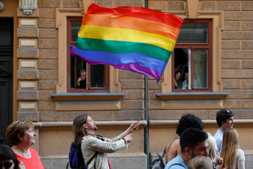 Revellers participate in Gay Pride Parade in Ljubljana