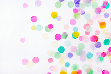 Confetti on white background Wall mural