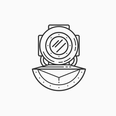Image of diving helmet on white background. Linear picture.