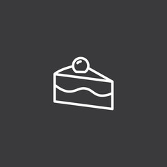 line piece of cake icon on white background