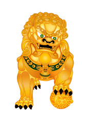 Male Foo Fu Lion Dog with World Ball