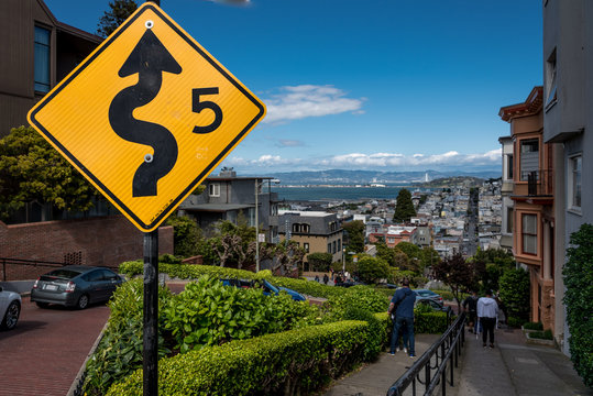 lombard street signs, view of lombard street landscape in san francisco.