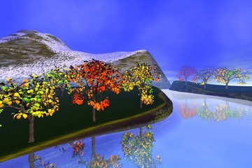 Reflection on the river, a autumn landscape, trees with red and yellow leaves, snowy mountain and a blue sky.