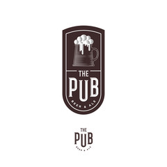 Beer Pub emblem. Mug with foam and letters. Craft Beer logotype. Engraving style. Monochrome option.