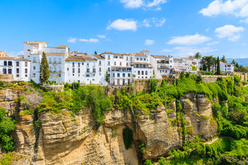 White houses on cliff in Andalusian village of Ronda, Spain