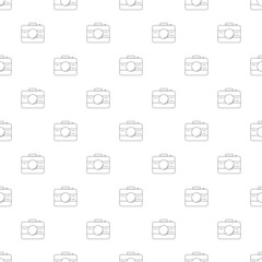 Camera background from line icon. Linear vector pattern