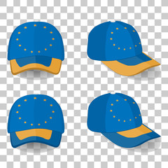 baseball cap with Europe Union flag. colorful set. vector illustration