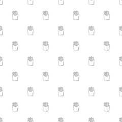 French fries background from line icon. Linear vector pattern