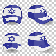 baseball cap with Israel flag. colorful set. vector illustration