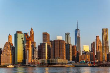 Photo Stands Shanghai Manhattan skyline, sunset beautiful landscape