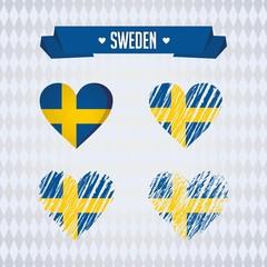 Sweden heart with flag inside. Grunge vector graphic symbols