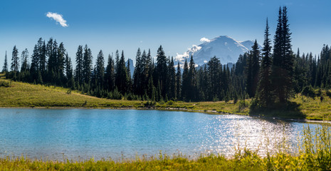 Mt Rainier and  Tipsoo lake