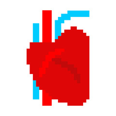 Heart human pixel art. Organ of man 8 bit. Vector illustration