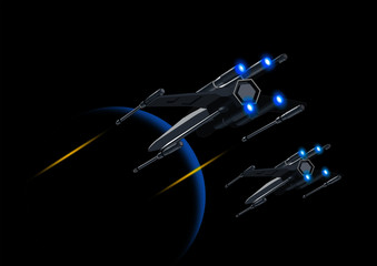 Vector illustration of a flying spaceship in star wars
