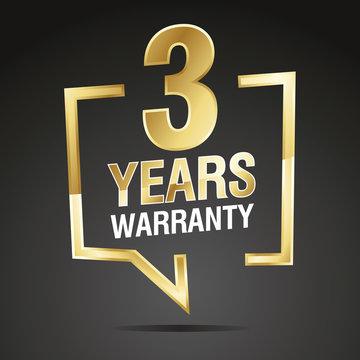 3 Years Warranty in speech brackets gold black sticker icon