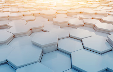 Blue and orange hexagons background pattern 3D rendering